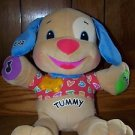 LAUGH N LEARN PUPPY Fisher Price developmental stuffed animal baby toy ABCs GUC