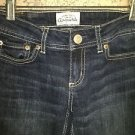 AEROPOSTALE denim blue jeans bootcut low rise dark wash junior 00 short stretch