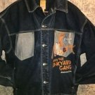 Platinum FUBU Fat Albert Junk Yard Gang applique denim blue jean jacket coat XL