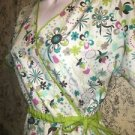 Mock wrap scrub top nurse medical dental M side gather tie green abstract floral
