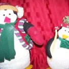 """2 stuffed plush penguins 12"""" 20"""" CHRSTmas winter holiday country decorations"""