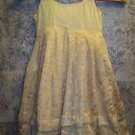 Yellow OOAK handmade Indian layered brocade kurti kutra long dress toddler girl