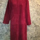 SONOMA zipper soft sherpa bath robe housecoat S red below knee modest high neck