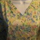 Abstract pastel floral pullover v-neck scrubs top nurse medical uniform women XS