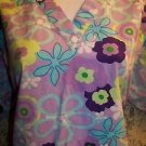 Purple turquoise retro floral v-neck pullover scrubs top dental medical nurse S