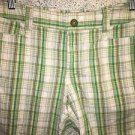Modest length green plaid lightweight cotton low rise bermuda shorts APT 9 sz 6