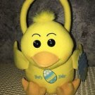 Plush stuffed little yellow chick Easter basket NWT soft gift egg hunt spring