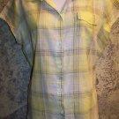 Semi sheer gauze weight cotton blouse LIZ CLAIBORNE Petite L PL yellow plaid top