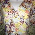 DENICE artsy butterfly  mock wrap scrubs top nurse medical dental vet M back tie