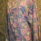 Pastel patch floral modest neck snap front v-neck scrubs jacket medical nurse M