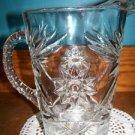 Vintage ANCHOR HOCKING Star of David starburst prescut clear glass heavy pitcher