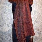 "13x85"" Indian dupatta scarf shawl wrap crinkle fabric metallic sheen fringe bead"