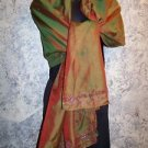 "40x72"" Indian dupatta scarf shawl wrap iridescent red green sheen beaded detail"