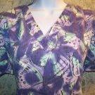 MEDIX purple butterfly abstract scrubs uniform top dental medical nurse vet S