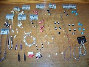 Large lot necklaces bracelets earrings mostly NOS findings beads costume jewelry