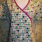 DICKIE'S short mock wrap purple trim v-neck scrubs top dental medical nurse S