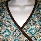 Teal brown mock wrap v-neck SB Scrubs #976 uniform top dental medical nurse S