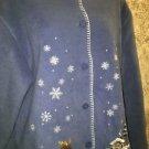 Button front modest neckline winter snow embellished fleece shirt L moose cabin