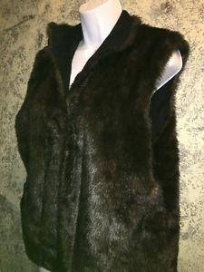 ISABELLA'S JOURNEY faux mink fur Expresso reversible vest L-XL collar open front