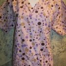 Pink brown geometric dots v-neck scrubs uniform top dental medical nurse vet M