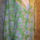 Green pink floral snap front v-neck scrubs jacket medical nurse vet uniform M