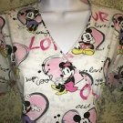 Mock wrap DISNEY Mickey Minnie scrubs top nurse medical dental vet S back tie
