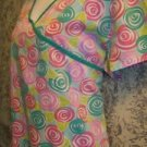Green pink wrap look pullover v-neck scrubs top nurse medical uniform women L
