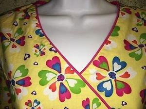 DICKIES bright yellow mock wrap v-neck scrubs uniform top dental medical nurse S