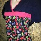 DICKIE'S cherries back tie scrubs top modest pullover medical nurse dental S