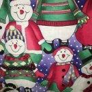 Winter snow snowmen LANDAU v-neck scrubs uniform top dental medical nurse vet M
