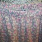 Pink gray fleece sleep lounge pj pajama bottom pants woman plus 1X elastic waist