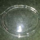 "Vintage clear glass casserole dish cover lid oval domed 6.5X8.5X1.25"" end grips"
