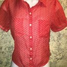 FOREVER 21 rockabilly cropped button down tie waist top blouse red semi sheer S