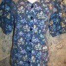 CREST short sleeve button front gathered back scrubs jacket top medical nurse L