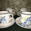 NORITAKE Progression china Good Times blue yellow floral 4 cups saucer set Japan