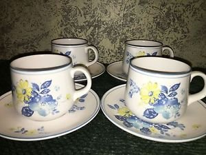NORITAKE Progression china Good Times blue yellow floral 4 cups saucer set Japan