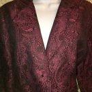 Fushia black paisley brocade pattern blazer jacket M two button career dress GUC