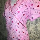 "Mock wrap SB Scrubs top nurse medical dental M pink red hearts ""XOXOX"" v-neck"