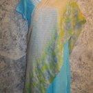 "40x80"" Indian dupatta scarf shawl wrap sheer chiffon lime green blue floral used"