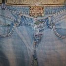 AMERICAN RAG light wash faded denim jeans flare low rise women junior 1 short
