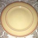 "BUFFALO CHINA beige dark pink ring band 9"" dinner plate restaurant dish vintage"