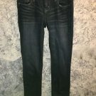 AMERICAN EAGLE low rise dark wash skinny straight denim blue jeans 5 whiskered