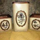 "ECKO Canada stackable metal canisters set 3 vintage coffee tea flour 4-9"" beige"