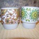 2 vintage Japan 70s hippie flower paisley stackable 2 finger handle cups mugs