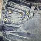SILVER JEANS 27x35 low-rise flare leg denim distress whiskered embroider pocket