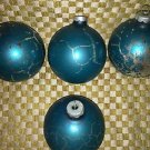 "Lot 4 large 3.25"" teal blue vintage mercury glass ornaments CHRISTmas tree decor"