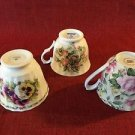 3 floral flowers pansy roses peaches bone china tea cups NO saucer for upcycling