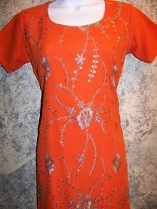 "Orange silver embroidered handmade kutra tunic dress silk ? unique 38"" bust"