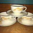 3 HOMER LAUGHLIN Oven Proof Golden Wheat 22K gold rims tea cups saucers sets GC