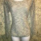 EXPRESS lightweight stretch semi sheer gray modest sweater top roll-up sleeves M